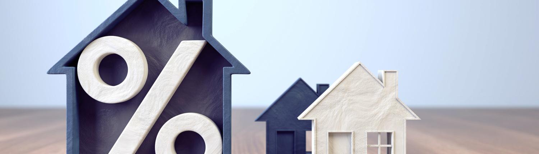 Modellhaus mit Prozent-zeichen