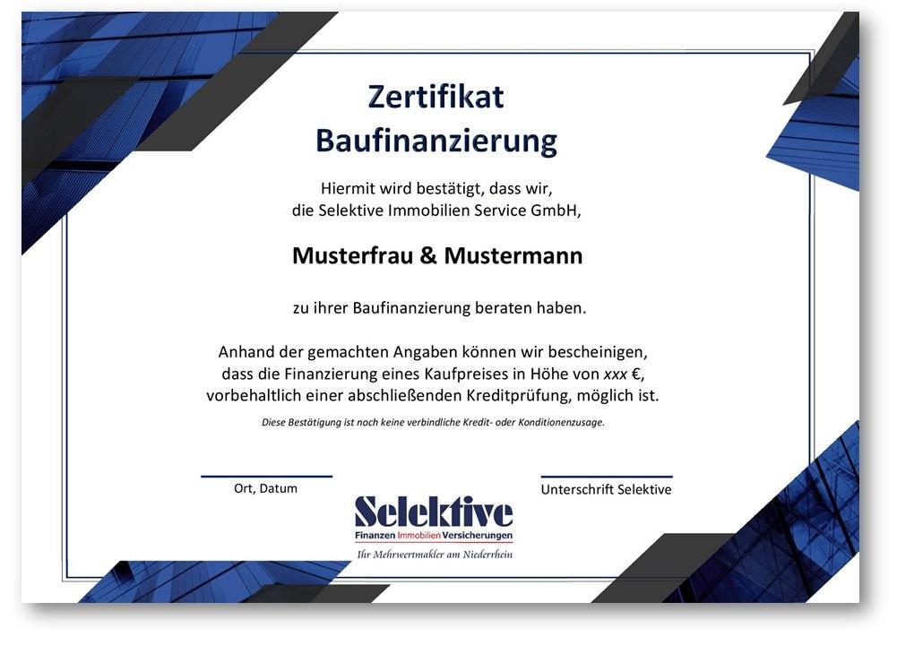 Zertifikat Baufinanzierung