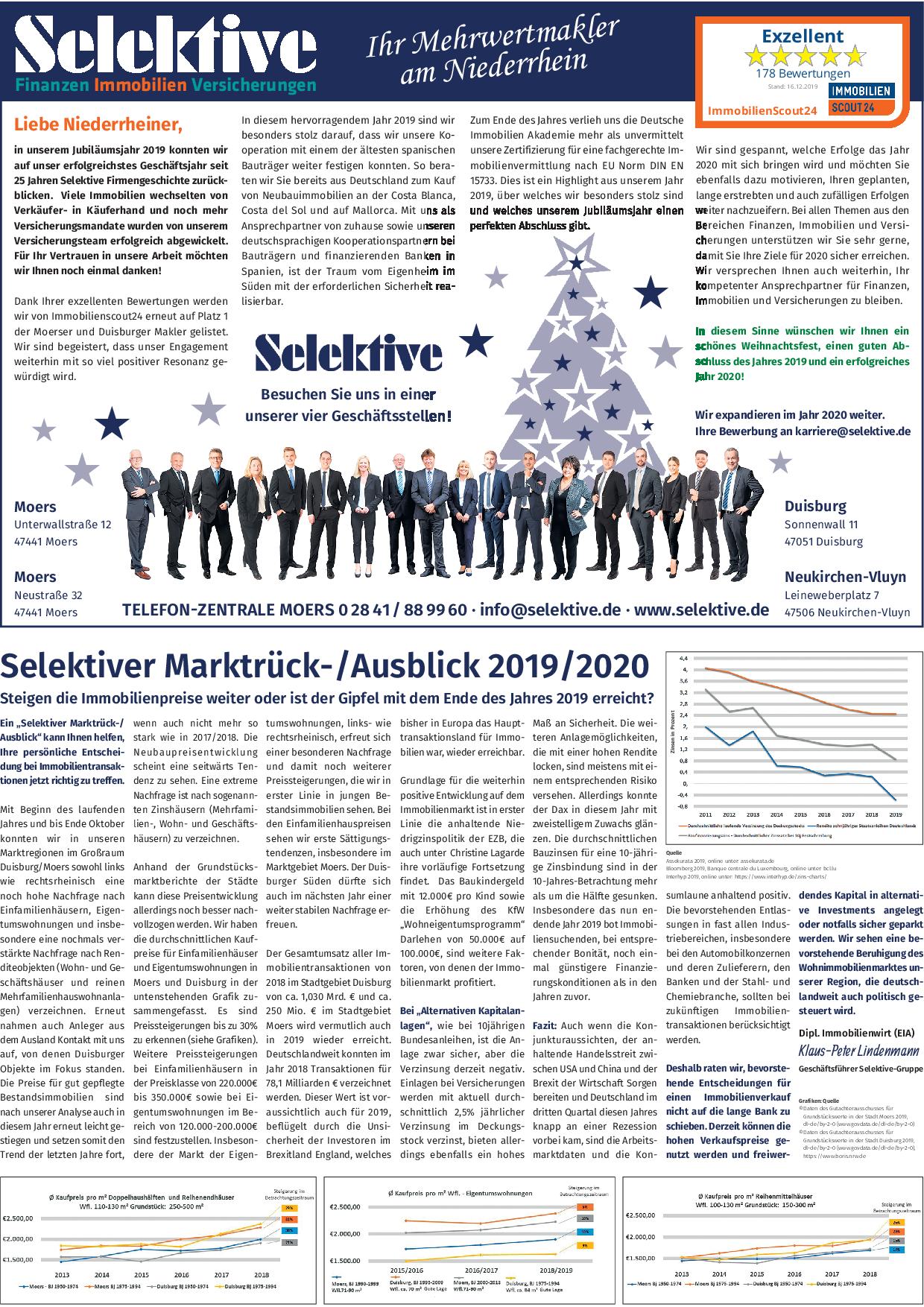 Anzeige Selektiver Marktrück-/ Ausblick 2019/ 2020