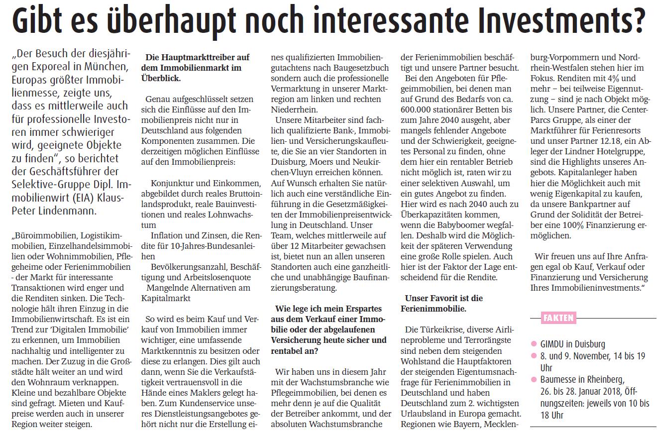 Zeitungsanzeige über Investments