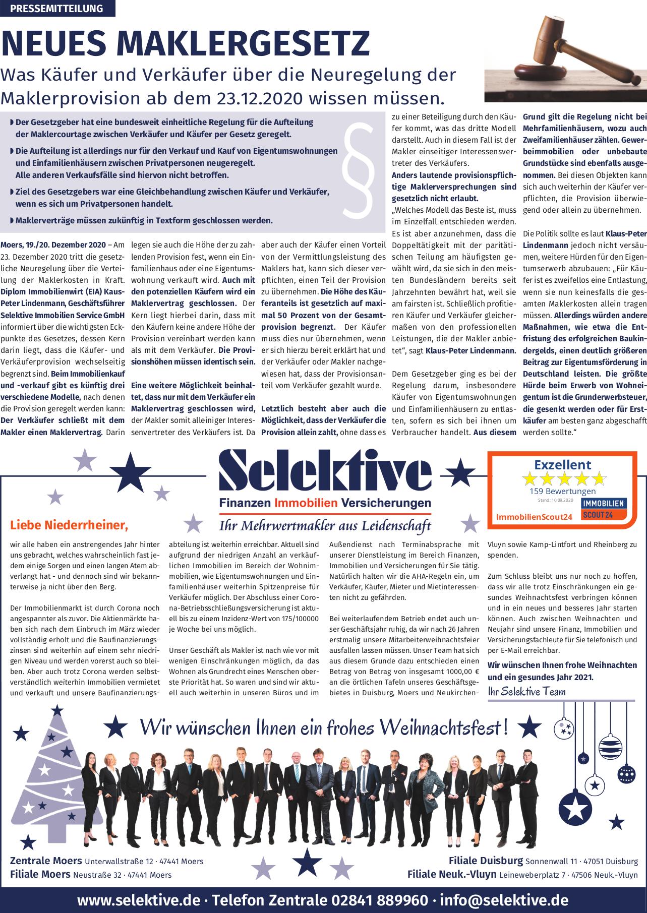 Zeitungsanzeige zum neuen Maklergesetz