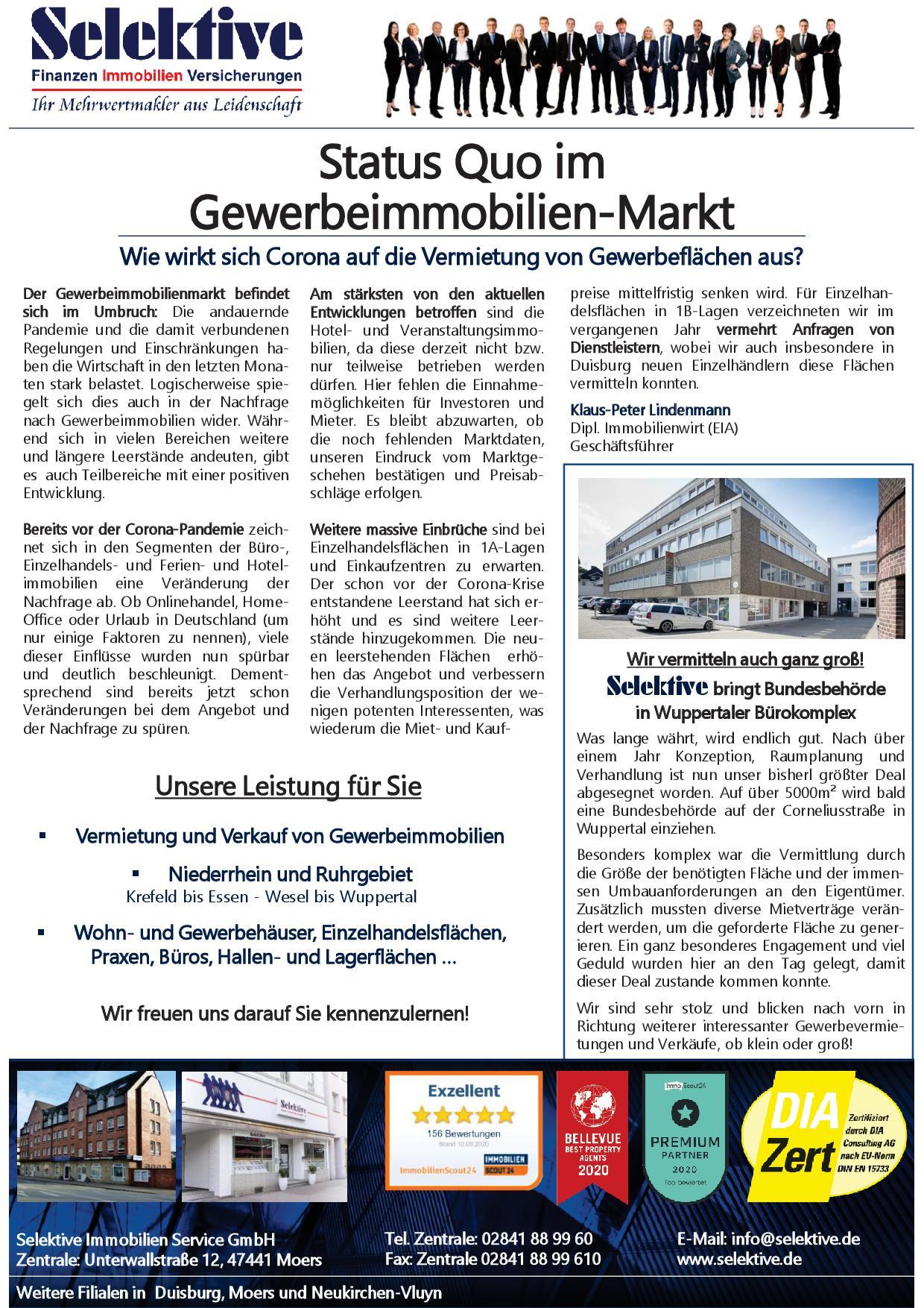 Zeitungsausschnitt zum Gewerbeimmobilienmarkt
